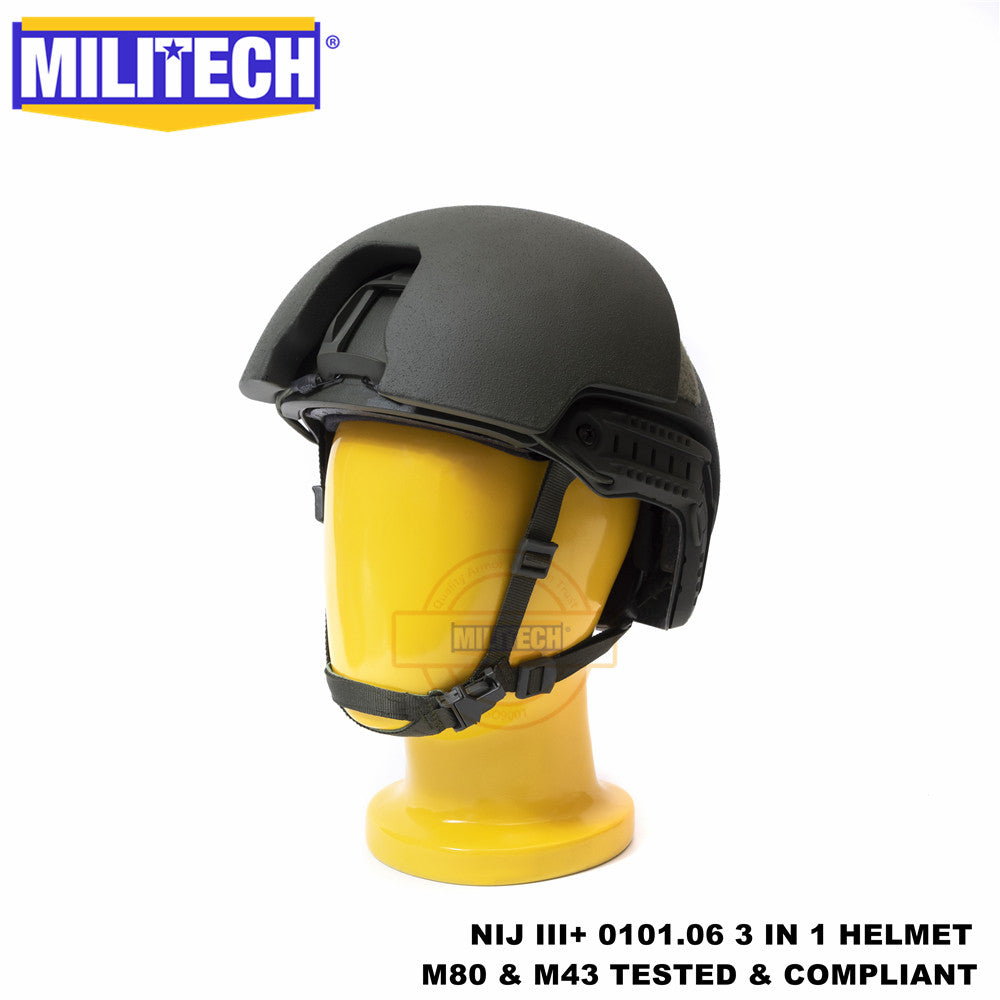 MILITECH® NIJ 0101.07 RF1 RIFLE RATED BALLISTIC HELMET 3 IN 1 CONSTRUCTION