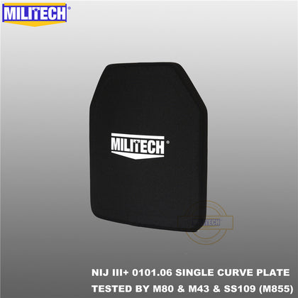 MILITECH® NIJ III+ 0101.06 / RF2 0101.07 Shooters Cut Single Curve Ballistic Panels Pair Set