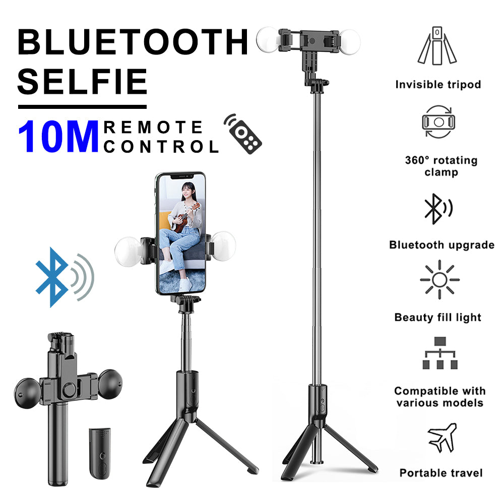 Extendable bluetooth Selfie Stick with LED Ring Fill Light