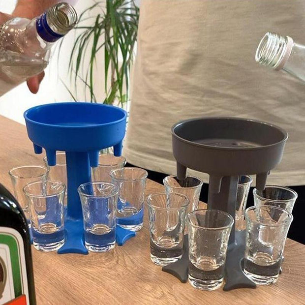6 Shot Glass Dispenser and Holder/Carrier Caddy Liquor Dispenser Party Gifts Drinking Games Shot Glasses Get The Party Started Faster