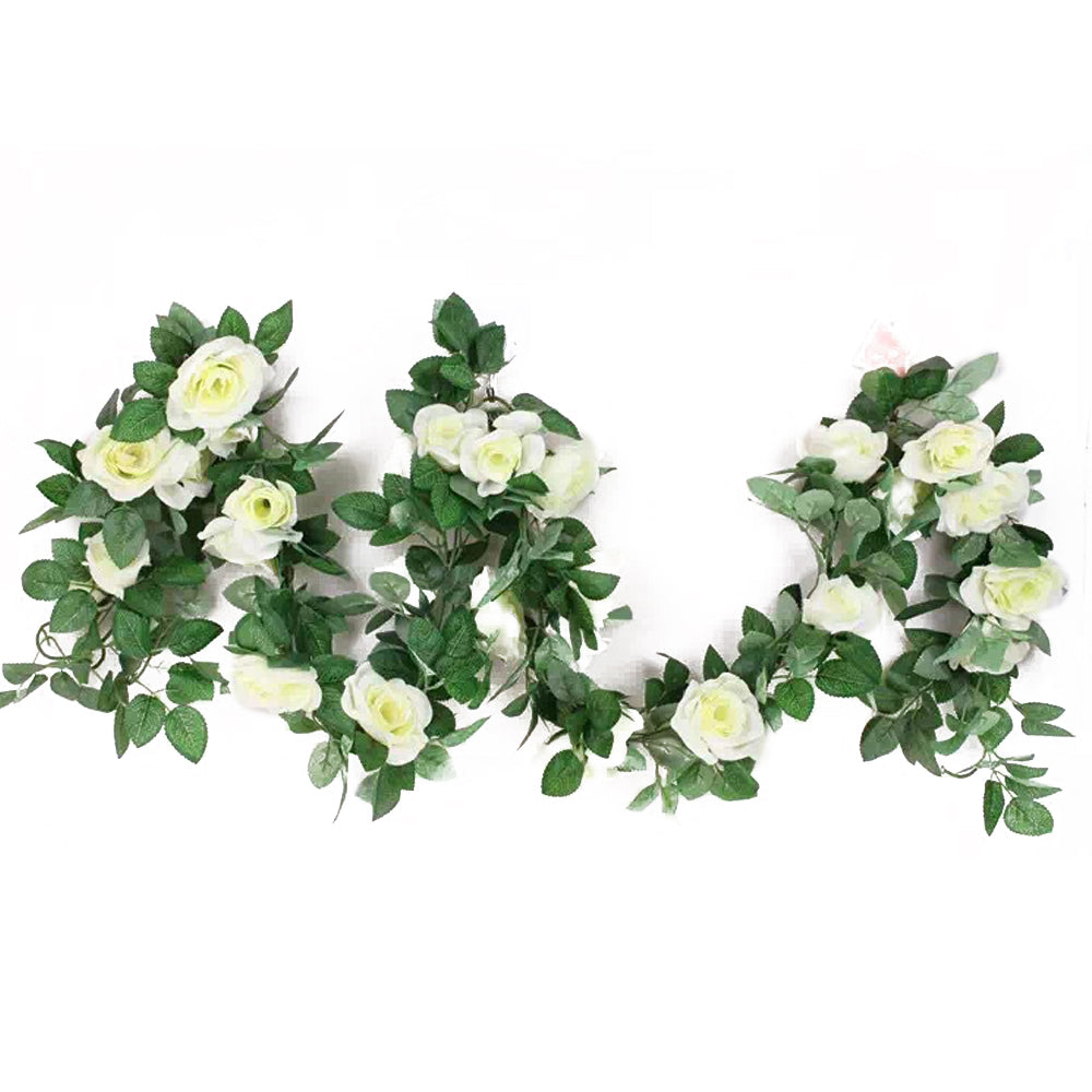 7.8 Ft Rose Flower with Leaves Garland for Home Party Wedding Decor