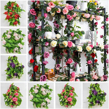 Load image into Gallery viewer, 7.8 Ft Rose Flower with Leaves Garland for Home Party Wedding Decor