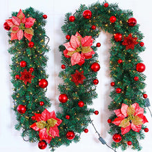 Load image into Gallery viewer, 9 FT by 12 Inch  Pre-lit Christmas Garland Battery Operated with Lights-Red