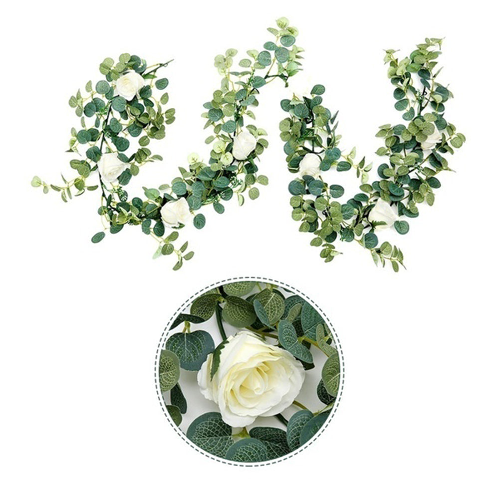 6ft Hanging Silk Rose Vine with Light for Wedding Arch Garland Decor