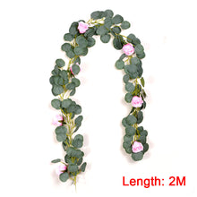Load image into Gallery viewer, 6ft Artificial Eucalyptus With Rose Garland Leaves Vine