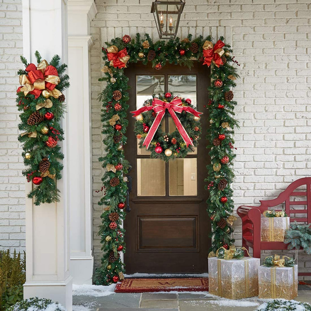 9 FT by 12 Inch  Pre-lit Christmas Garland Battery Operated with Lights-Red