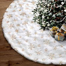 "Load image into Gallery viewer, 48"" Snowflake Embroidery Christmas Tree Skirt Christmas Decorations"