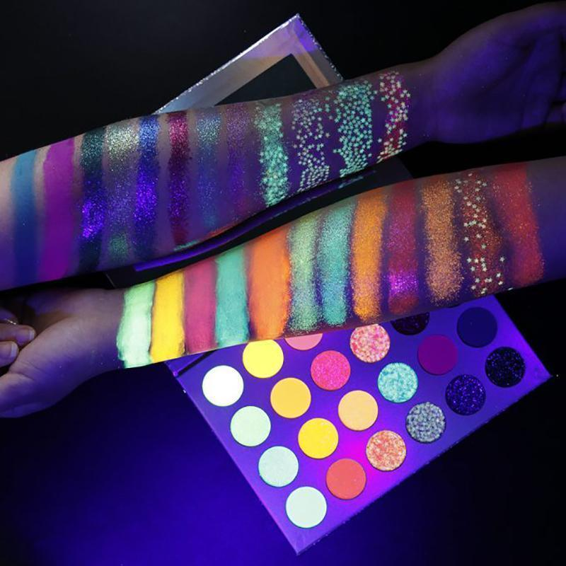 Euphoria Glow Palette Neon Glitter Eyeshadow Palette for Party (24 Colors)