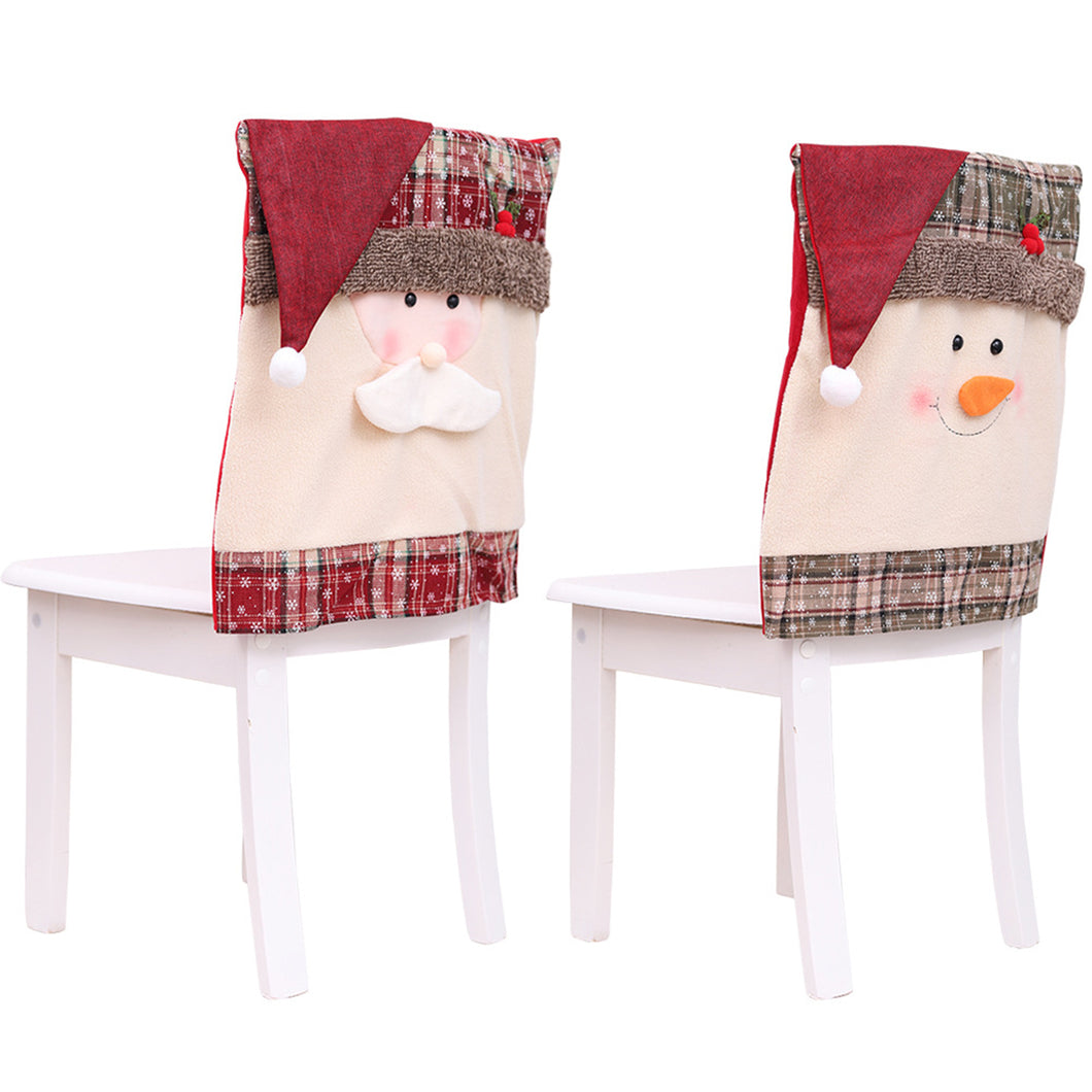 Santa Claus Embroidered Chair Back Cover (2 Packs)