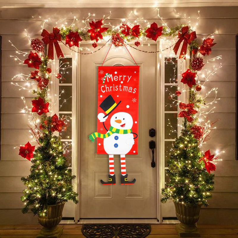 Christmas Flag Door Decor Hanging Cloth