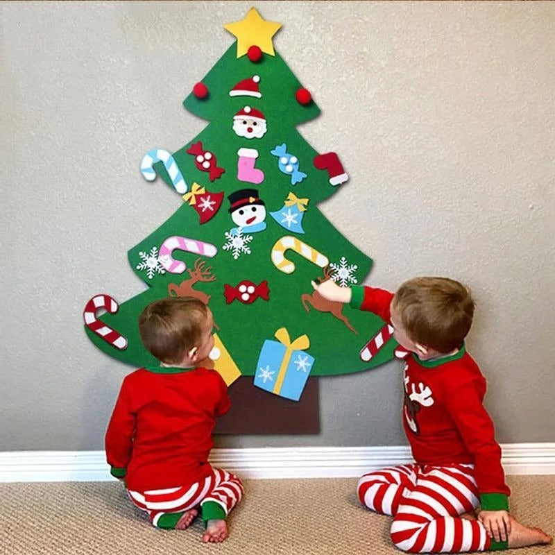 DIY Felt Christmas Tree Set with Ornaments for Kids