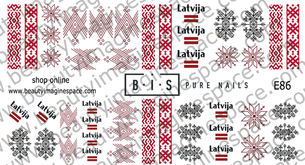 BIS Pure Nails water slider nail design sticker decal, LATVIA E86