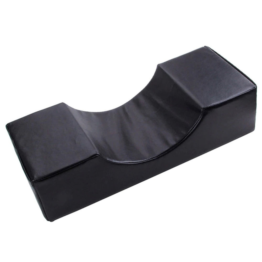 Memory foam neck pillow for eyelash extensions LEATHER BLACK, 20 x 50 cm