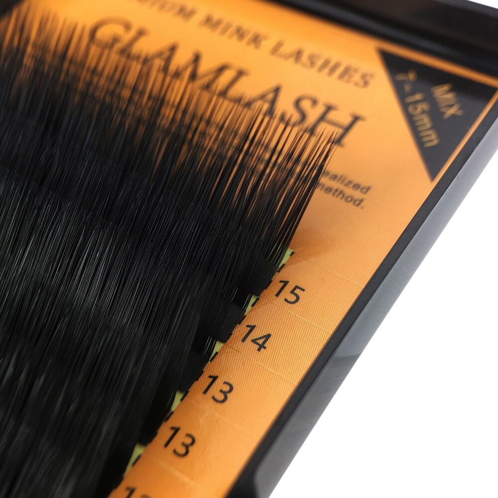 GlamLash Mink 16 lines eyelash extensions L shape - 0.10 - MIX 7-15 mm, final sale!
