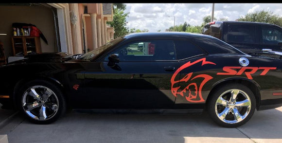 HELLCAT SRT  Decal Side Fender Dodge Charger Challenger Graphics (red eye)