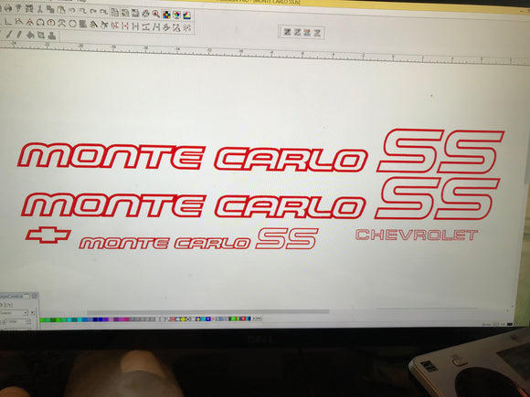 Monte Carlo SS 85 86 Restoration Red Vinyl Decals Stickers Kit Chevy 1985 1986