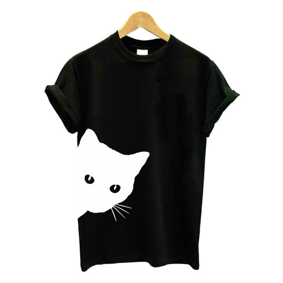 1 Pcs Funny Cat Women T-shirt Cotton Harajuku Slim Short Sleeved Summer Shirt Sexy Korean Lady Girls Tee Tops