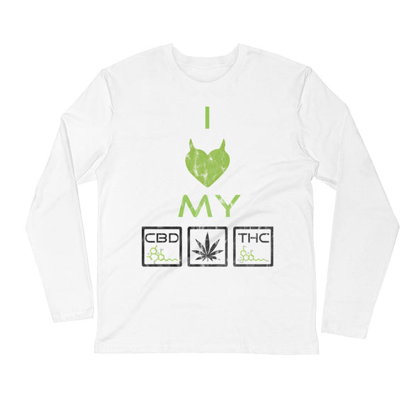 I HEART MY CBD THC - Long Sleeve Fitted Crew - HTBADD