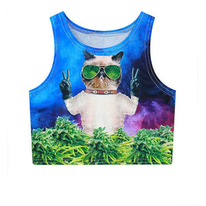 3D Punk Cat And Cannabis Crop Top