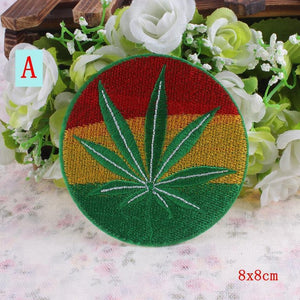 Iron On Vintage Hippie Cannabis Leaf Patches