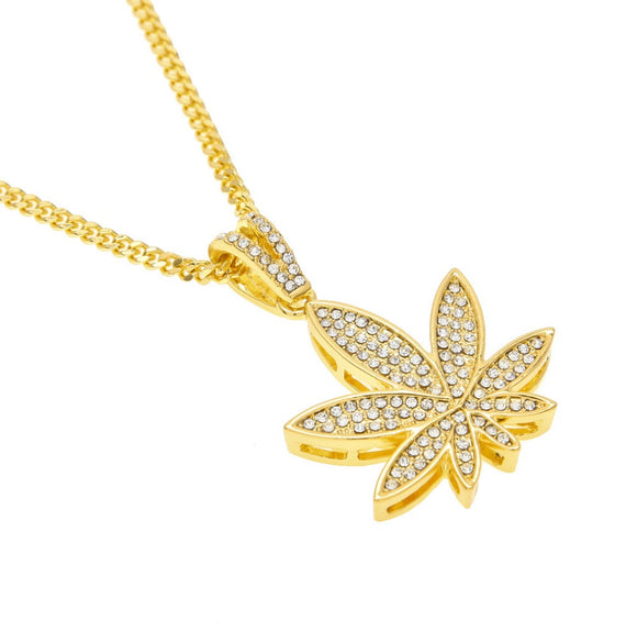Gold Color Cannabis Necklace With Rhinestones