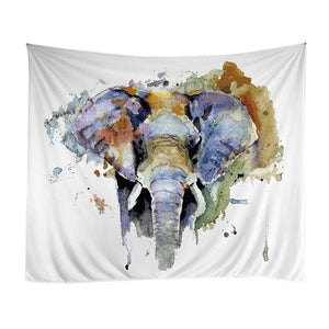 Psychedelic -  Water Color Elephant Tapestry