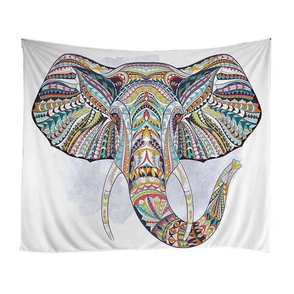 Psychedelic -  Patterned Elephant Tapestry