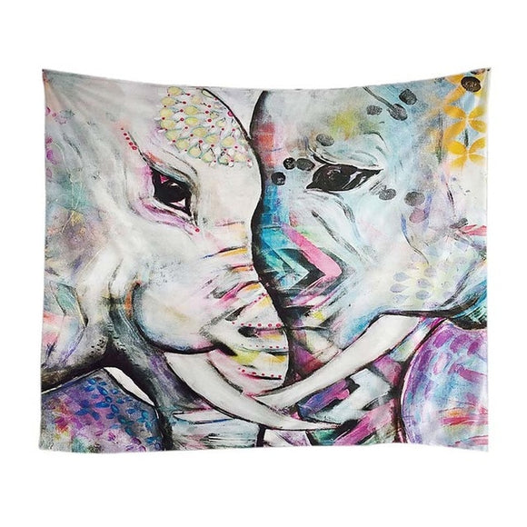Psychedelic -  Elephants Face2Face Tapestry