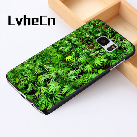 Phone case cover For Samsung Galaxy S3 S4 S5 mini S6 S7 S8 edge plus Note2 3 4 5 7 8 GREEN WEED PLANTS MARIJUANA