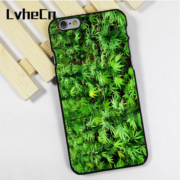 Phone case cover fit for iPhone 4 4s 5 5s 5c SE 6 6s 7 8 plus X ipod touch 4 5 6 GREEN WEED PLANTS MARIJUANA