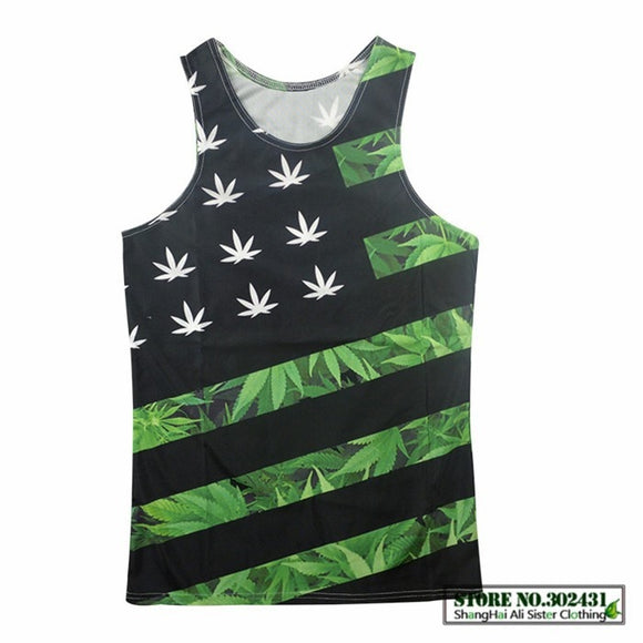 3D American Flag Cannabis Leaf Tank Top UNISEX