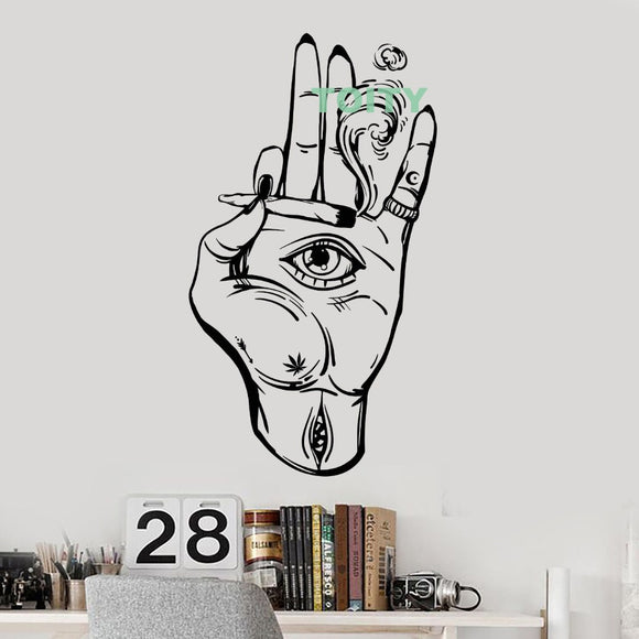 Vinyl Wall Decal Hamsa Hand Eye Cannabis Home Room Decor H97cm x W56cm/38.4