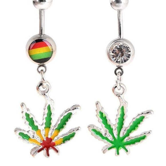 Cannabis Leaf Navel Ring Dangle Surgical Steel Bar 1pc