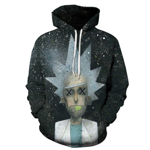 Rick and Morty Hoodie - Dead Rick Spray Paint