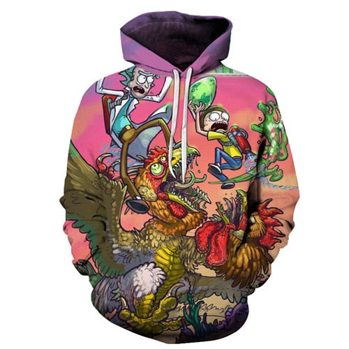 Rick and Morty Hoodie - Chicken FIght