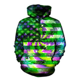 3D Whirling Cannabis USA Flag Hoodie UNISEX