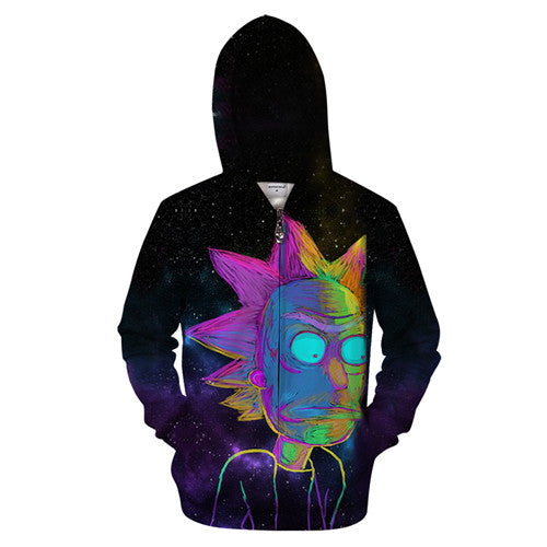 Rick and Morty Hoodie - Rick Multicolor Chalk