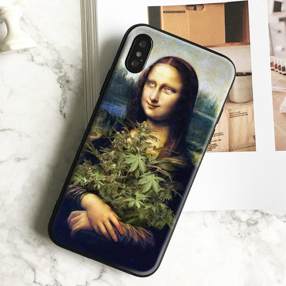 Mona lisa Cannabis Soft Silicone Phone Case Cover Shell For iPhone 5 5s Se 6 6s 7 8 Plus X XR XS MAX