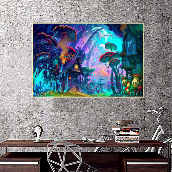 Psychedelic - Trippy Mushroom Town Silk Poster