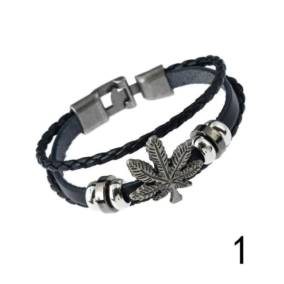 Leather Bracelet For Men Vintage Cannabis Leaf Charm