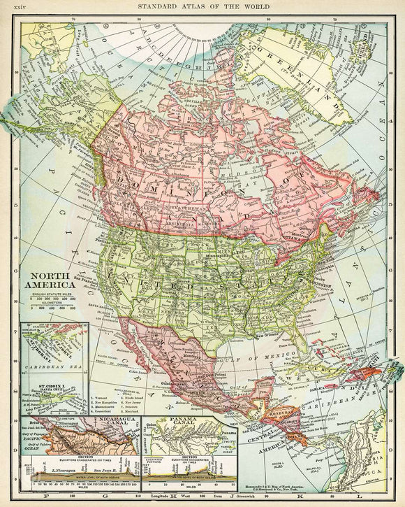 Map of North America Minky Blanket Topper