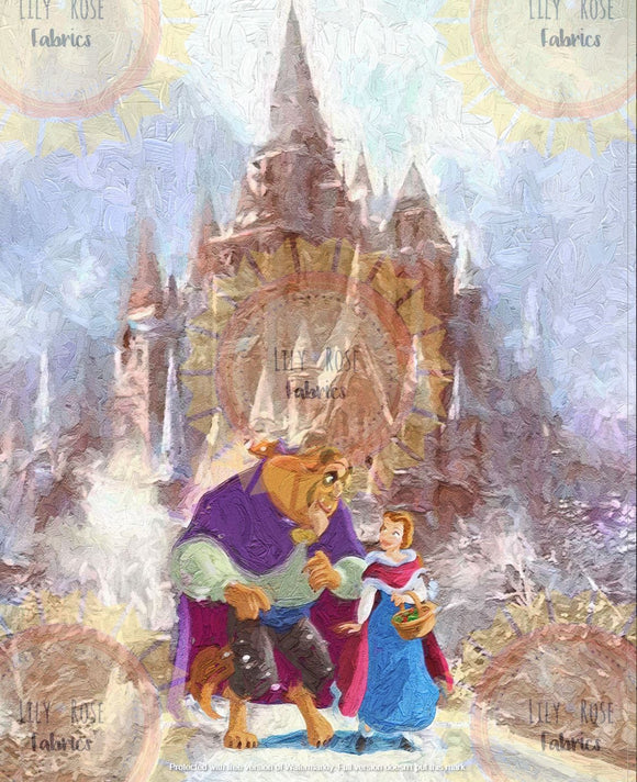Beauty and Beast Winter Castle Acrylic Paint Blanket Topper *PREORDER*