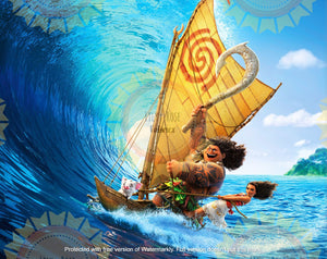 Maui and Moana Wave Acrylic Paint Blanket Topper *PREORDER*