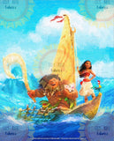 Maui and Moana Boat Ride Acrylic Paint Blanket Topper *PREORDER*