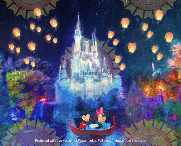 Mickey and Minnie Lanterns Acrylic Paint Blanket Topper *PREORDER*
