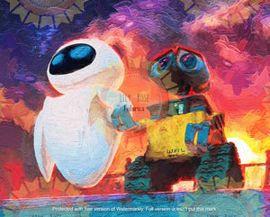 Wall-E and Eve Sunset Acrylic Paint Blanket Topper *PREORDER*