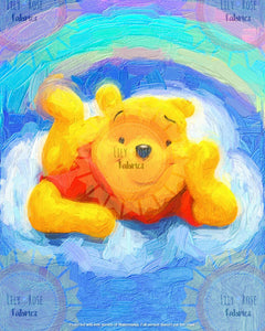 Pooh Rainbow Acrylic Paint Blanket Topper *PREORDER*
