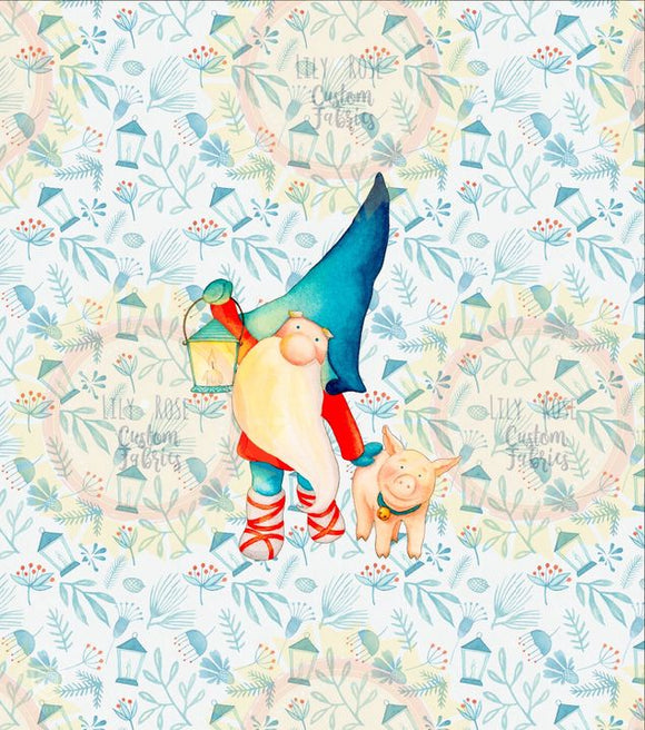 Gnome with Pig on Holly Background Panel *RETAIL*