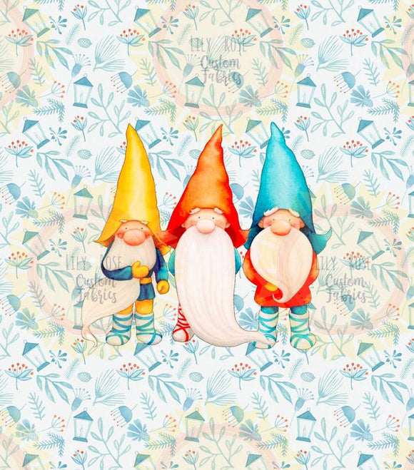 Three Gnomes on Holly Background Panel *RETAIL*