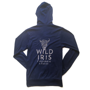 Back of Navy Unisex Wild Iris Full Zip Hoodie